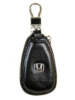 Кожаная ключница с лого Авто автоключница кожа F633 Honda black черный