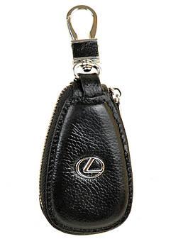 Кожаная ключница с лого Авто автоключница кожа F633 Lexus black черный