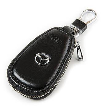 Кожаная ключница с лого Авто автоключница кожа F633 Mazda black черный