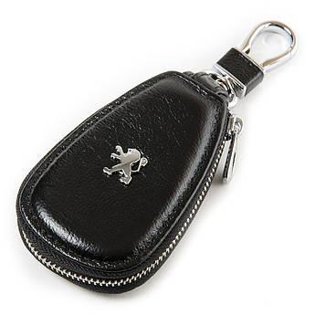 Кожаная ключница с лого Авто автоключница кожа F633 Peugeot black черный