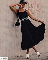 Плаття -сарафан жіночий ефектне довге з поясом на бретельках р-ри 42-46 арт. 1222