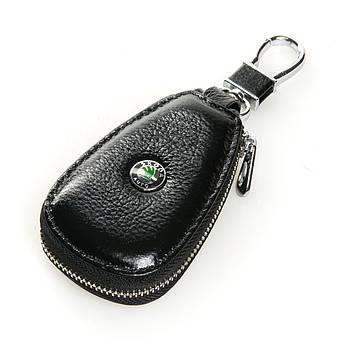 Кожаная ключница с лого Авто автоключница кожа F633 Skoda black черный