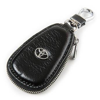 Кожаная ключница с лого Авто автоключница кожа F633 Toyota black черный