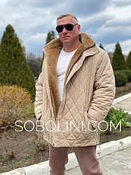 Мужская  куртка с овчиной внутри  (ягненок Кёрли)