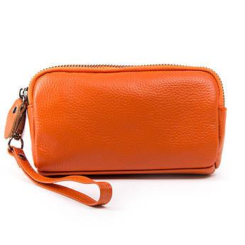 Косметичка кожаная косметички из натуральной кожи 6002-10 orange оранжевая