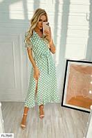Платье женское в горошек с рюшами юбка клеш за колено с разрезом на ноге  р-ры 42-48 арт. 160