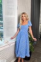 Прогулочное платье на лето за колено А-силуэта с юбкой клеш р-ры 42-48 арт. 613