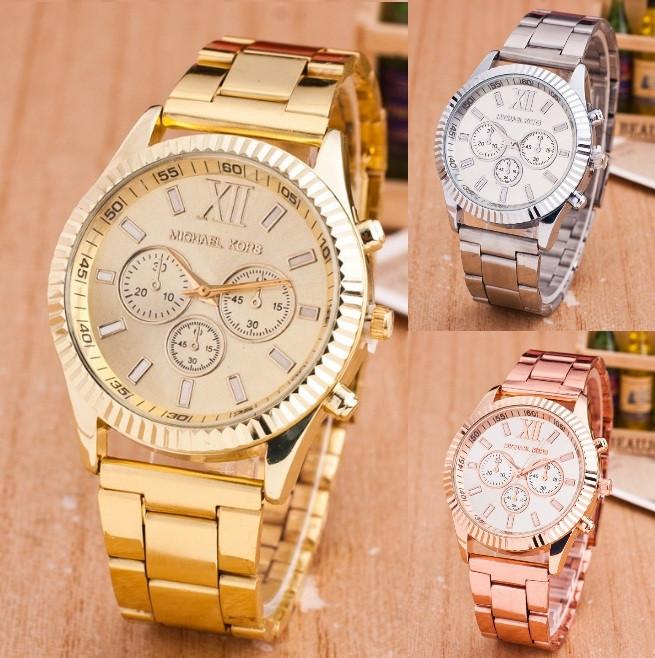 Модные женские часы Michael Kors качественные реплика золотистые серебристые