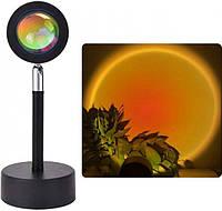 Светильник проекционный заката и рассвета высотой 10 см и поворотом на 180 Черный с желтым свечением FG Sunset