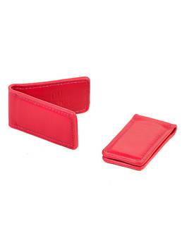 Кошелек женский зажим для денег кожа BRETTON Clip rose-red красный