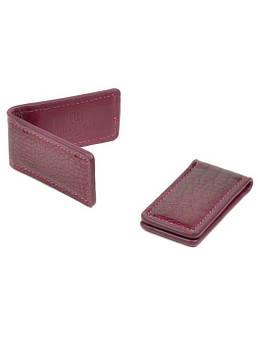 Кошелек женский зажим для денег кожа BRETTON Clip-Croc rose-red красный