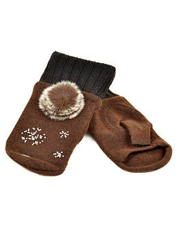 Перчатки женские вязка FO-3 brown