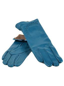 Перчатки женские кожаные (Ш) F23 мод1 бирюза st16