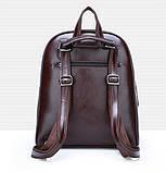 Рюкзак міський жіночий, Модні жіночі рюкзаки, Рюкзак для дівчини чорний коричневий, фото 3
