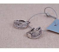 """Серебряные серьги """"Люксембург"""" с циркониями 925 пробы."""