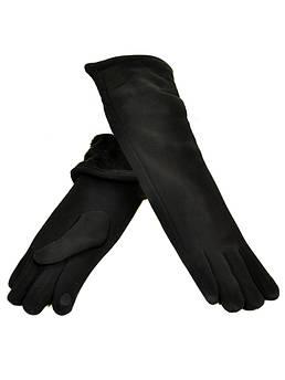 Перчатки женские стрейч F16/2/17 мод4 black черный длинная сенсор