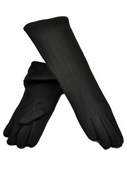 Перчатки женские стрейч F19/17 40см black черный плюш