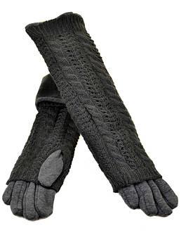 Перчатки женские стрейч F21/2-17 40см grey серый