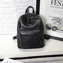 Черный женский городской мини рюкзак эко кожа, прогулочный маленький рюкзачок для девушек