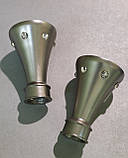Карниз для штор металевий КАРТЕР подвійний 19+19мм 2.4м Сатин нікель, фото 2