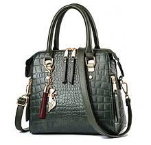Модная женская сумка через плечо с брелком, сумочка под рептилию змеиная эко кожа Зеленый