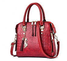 Модная женская сумка через плечо с брелком, сумочка под рептилию змеиная эко кожа Красный
