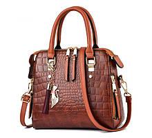 Модная женская сумка через плечо с брелком, сумочка под рептилию змеиная эко кожа Коричневый