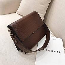 Женская мини сумка через плечо под рептилию, сумочка змеиная эко кожа модная Коричневый