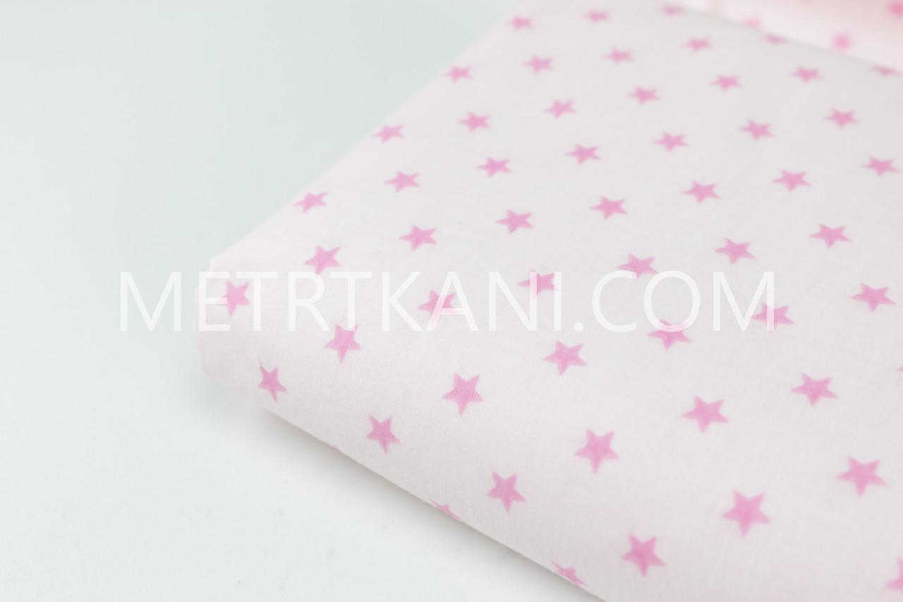 Клаптик. Бавовняна тканина з малиновими зірками 10 мм на світло-рожевому тлі, 62*160 см