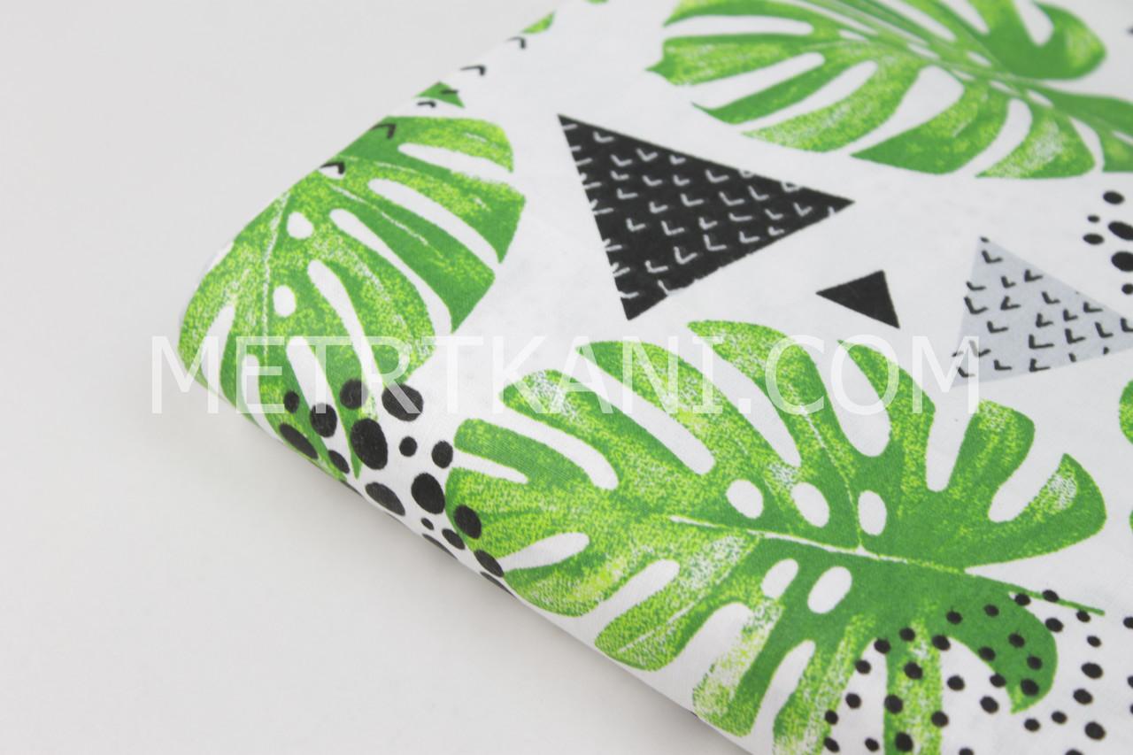 Лоскуток.Ткань хлопковая с  листьями монстеры, треугольниками и кругами на белом фоне, 70*160 см