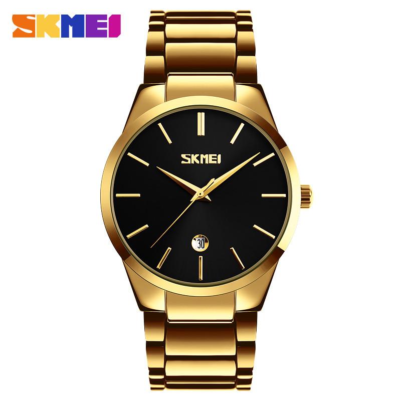 Skmei 9140 золото з чорним циферблатом чоловічі годинники