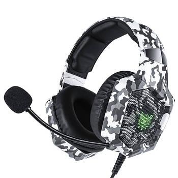 Проводная гарнитура ONIKUMA K8 Camouflage Grey наушники с микрофоном 1+2/3.5мм + USB для ПК игр