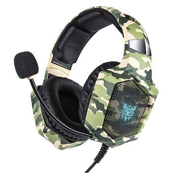 Проводная гарнитура ONIKUMA K8 Camouflage Green наушники с микрофоном 1+2/3.5мм + USB для ПК игр
