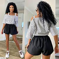 Костюм женский стильный на лето свободная блуза и короткие шорты р-ры 42-44,44-46 арт 101