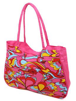 Сумка Женская Пляжная текстиль /1323 pink розовая
