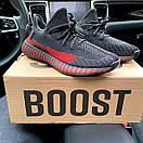 Чоловічі кросівки Adidas Yeezy Boost 350 V2 Black\Red, фото 2