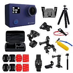 Набор блогера 30 в 1: экшн-камера AIRON ProCam 8 Blue с аксессуарами