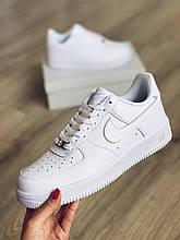 Белые мужские кроссовки Nike Air Force 1 White (белые найки)