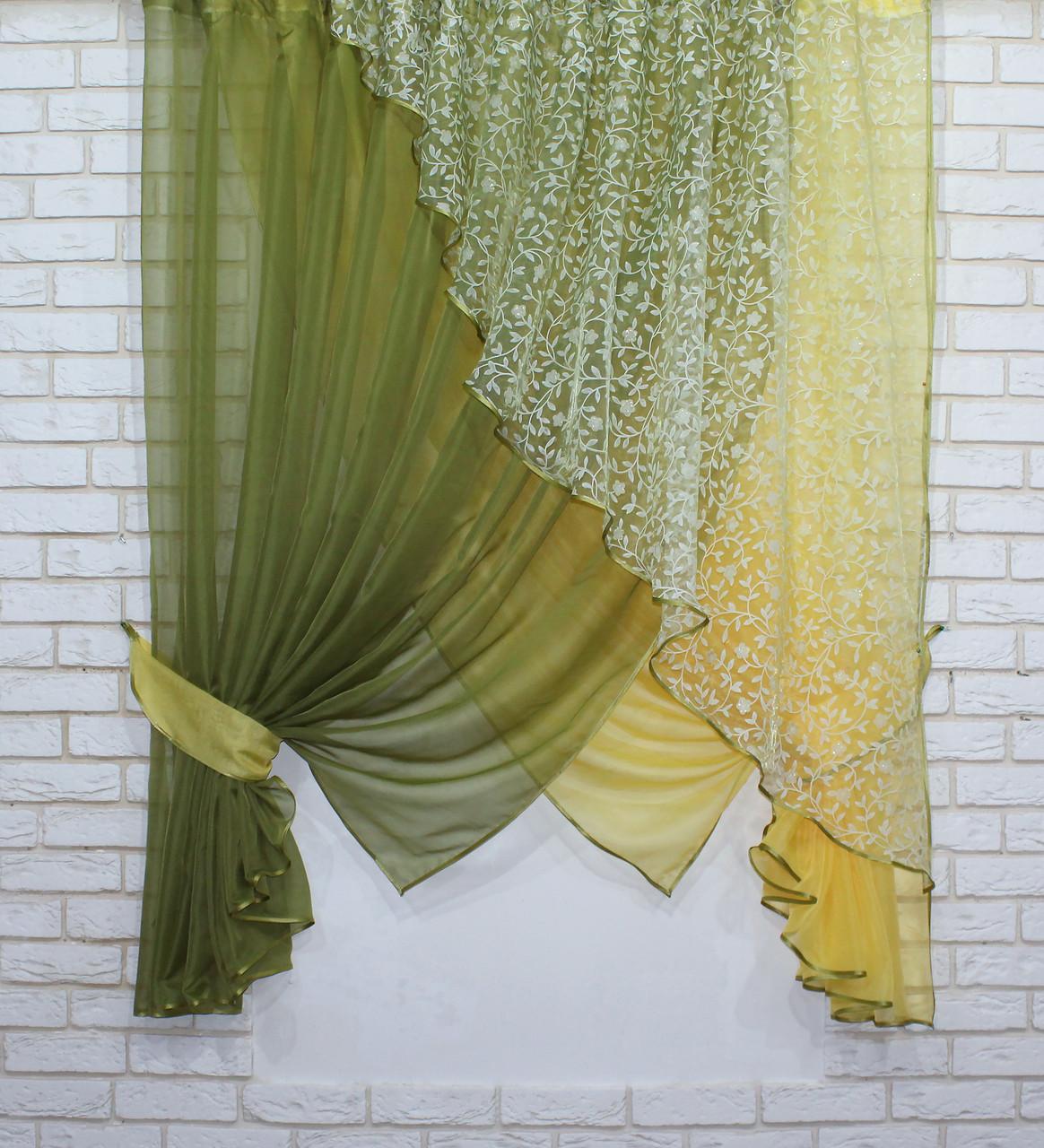 Кухонный комплект (300х170см.), шторки с подвязками. Цвет оливковый с жёлтым. Код 063к 50-422