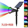 Уличный газонный светильник на солнечной батарее 4Вт 7LED RGB смена цвета