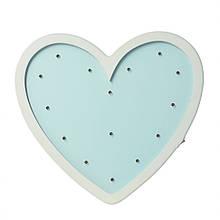 Детский деревянный  ночник Сердце MD 2080H на батарейках (Голубой)