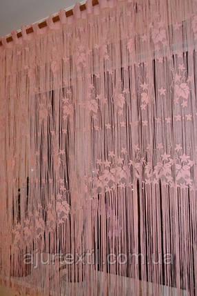 """Шторы нити """"Листья"""" розовый, фото 2"""