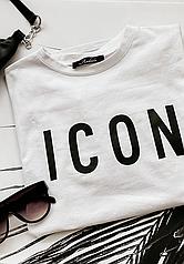Женская футболка с ярким принтом ICON и рукавом на манжете, модная одежда с рисунком (чёрный, белый, бежевый)