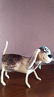Валяная собака игрушка из шерсти сухое валяние подарок для друзей войлочная игрушка интерьерная игрушка, фото 1