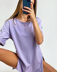 Женская футболка оверсайз длинная с разрезами и с рукавом три четверти (чёрный, белый, бежевый, желтый, лаванд