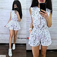 Красивый молодежный женский костюм блузка и короткие шорты из ткани софт р-ры 42-46 арт 2777