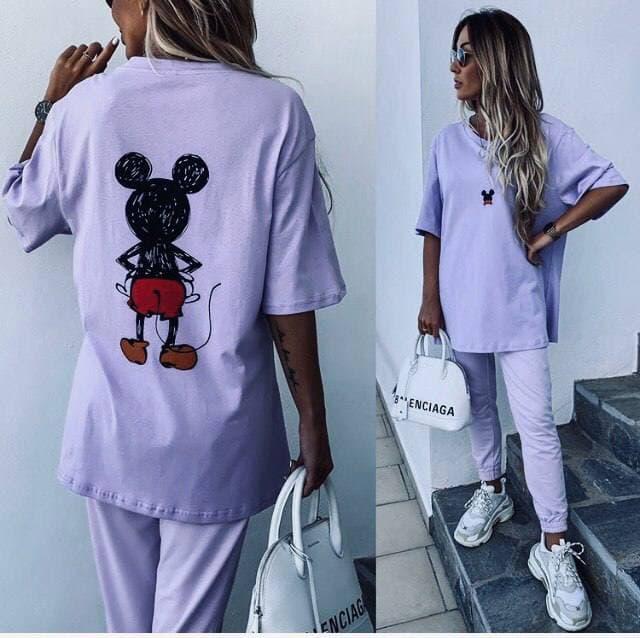 Красивая женская лавандовая футболка с принтом микки мауса Purple