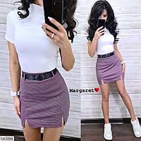 Костюм женский стильный на лето футболка и короткая мини юбка с поясом арт 2592