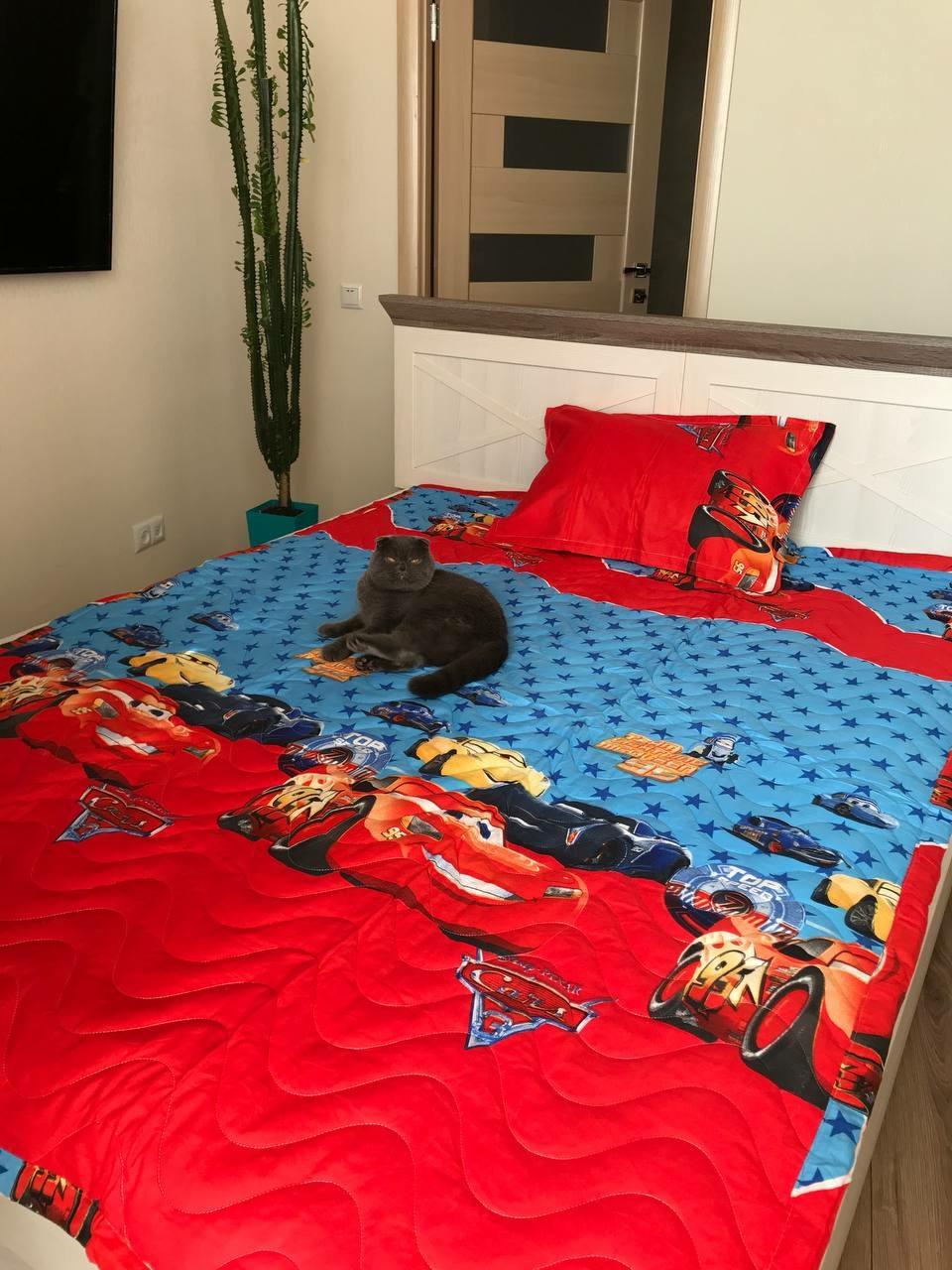 Дитяче стьобане покривало на ліжко 160*210 тачки маквин