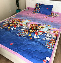 Дитяче стьобане покривало на ліжко 160*210 щенячий патруль
